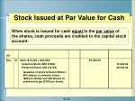 stock issued at par value for cash