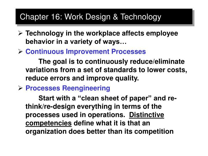 Chapter 16 work design technology