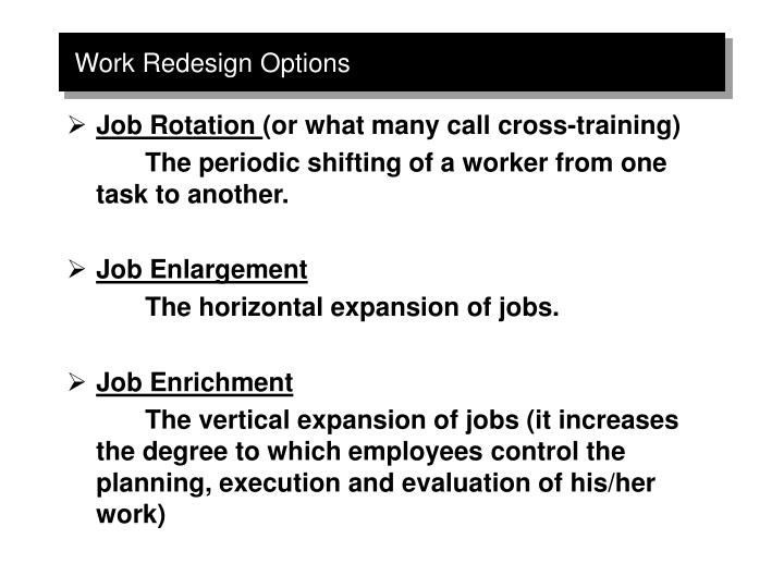 Work Redesign Options