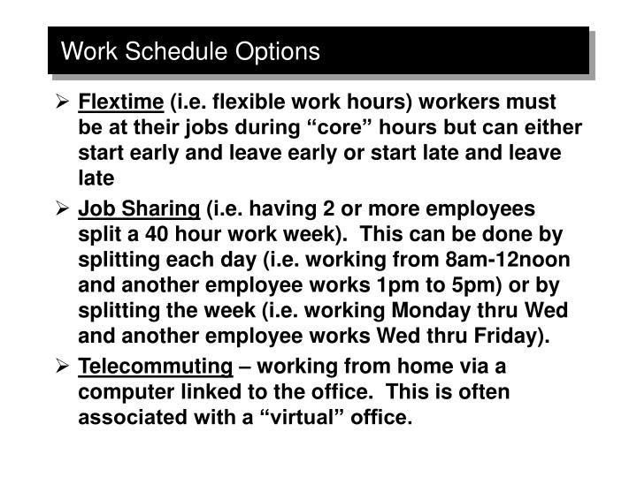 Work Schedule Options