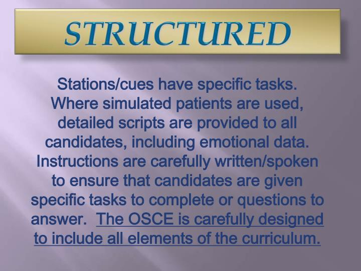 Stations/cues