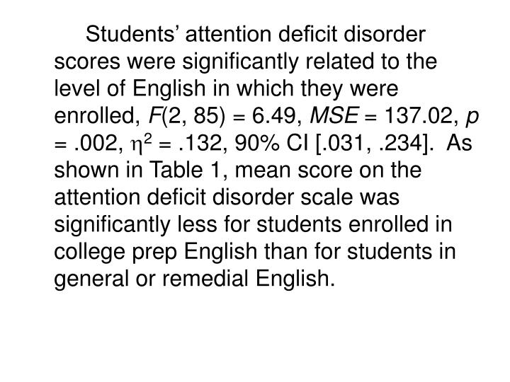 Students' attention deficit disorder scores were significantly related to the level of English in which they were enrolled,