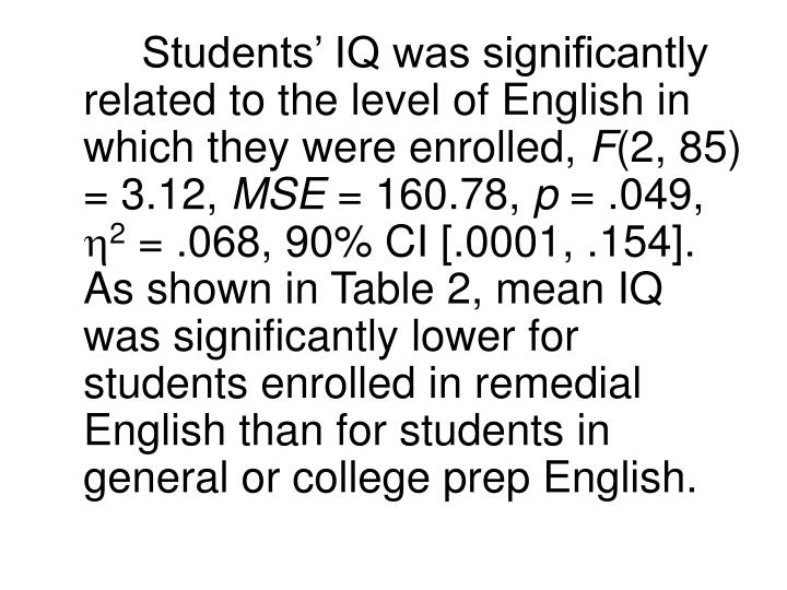 Students' IQ was significantly related to the level of English in which they were enrolled,