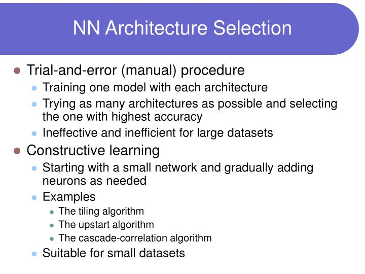 NN Architecture Selection