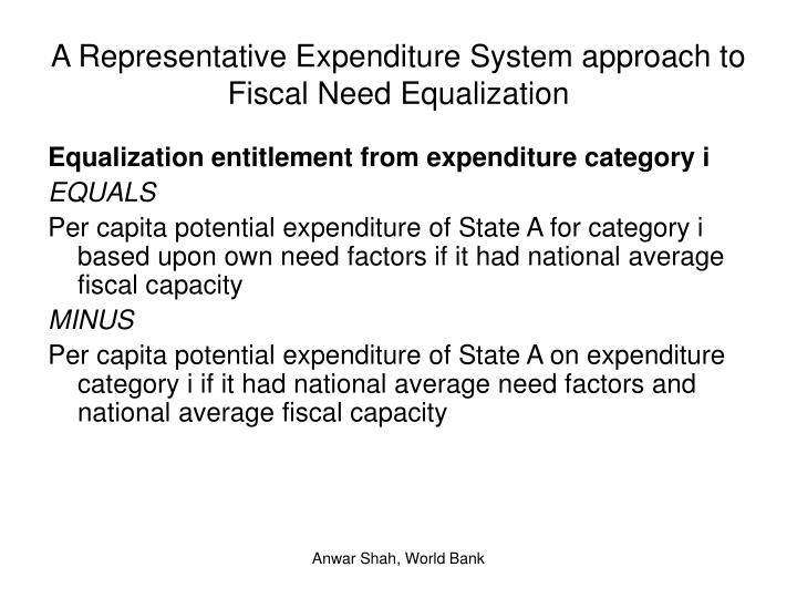 A Representative Expenditure System approach to Fiscal Need Equalization