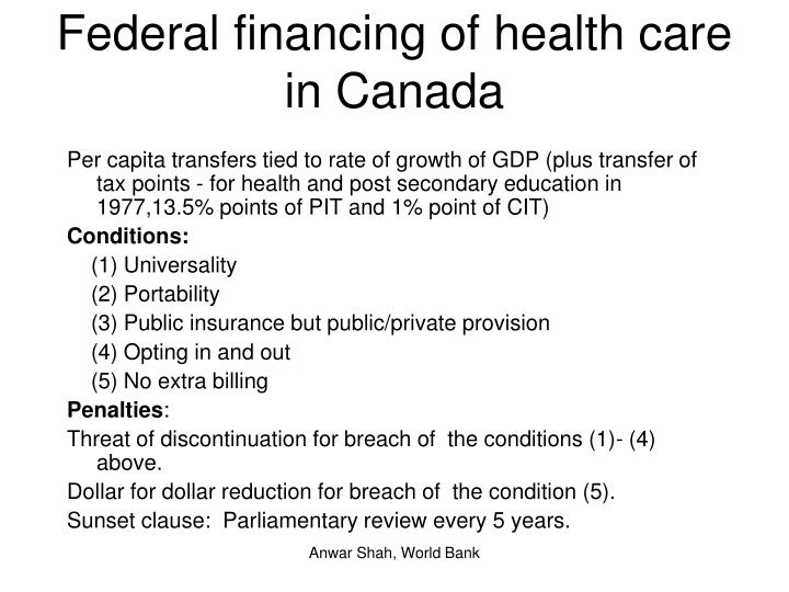 Federal financing of health care in Canada