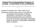 federal fiscal equalization program of canada is enshrined in the constitution