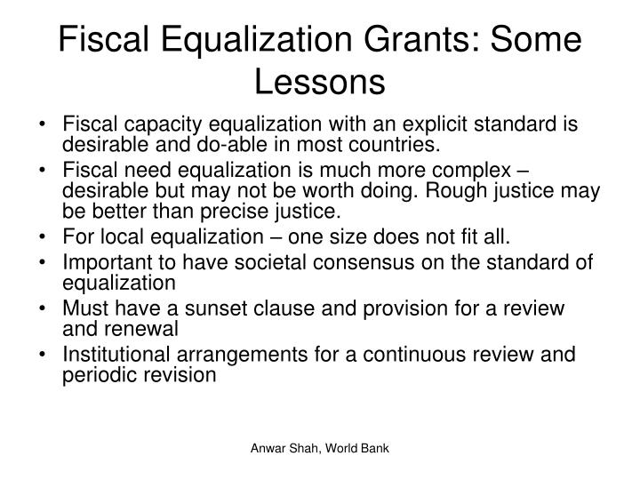 Fiscal Equalization Grants: Some Lessons