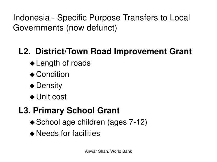 Indonesia - Specific Purpose Transfers to Local Governments (now defunct)