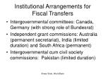 institutional arrangements for fiscal transfers