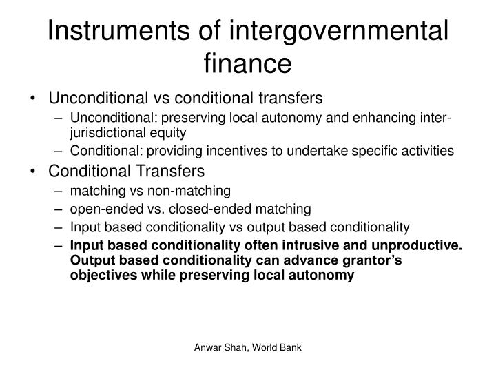 Instruments of intergovernmental finance