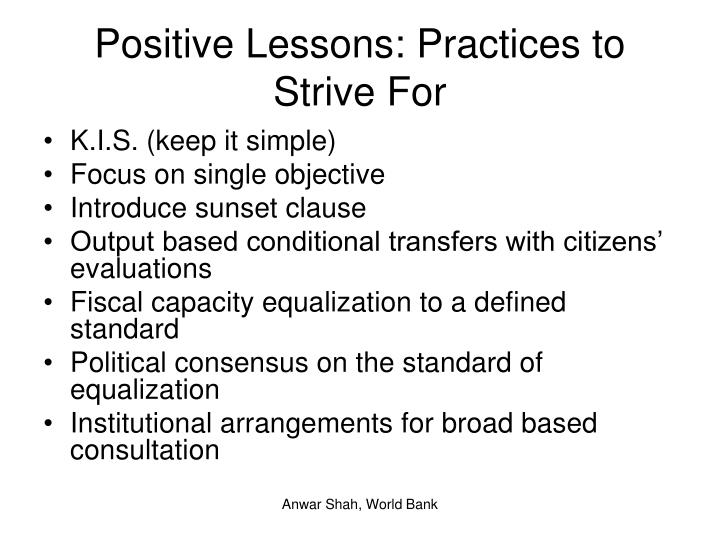 Positive Lessons: Practices to Strive For