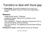 transfers to deal with fiscal gap