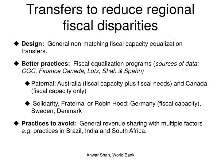 Transfers to reduce regional fiscal disparities