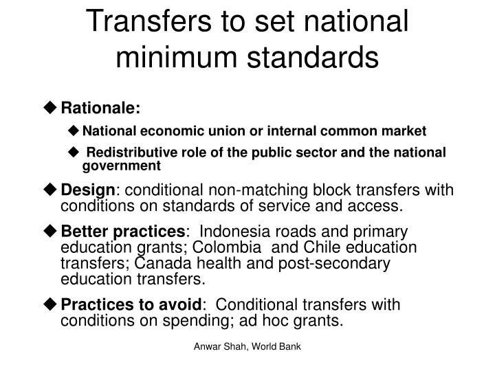Transfers to set national minimum standards