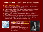 john dalton 1802 the atomic theory