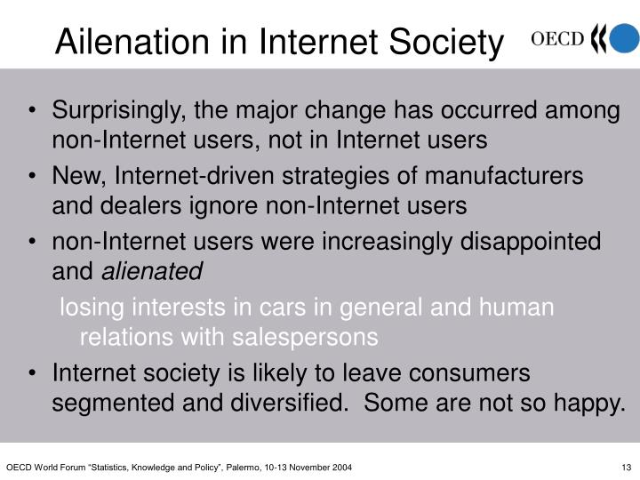 Surprisingly, the major change has occurred among non-Internet users, not in Internet users