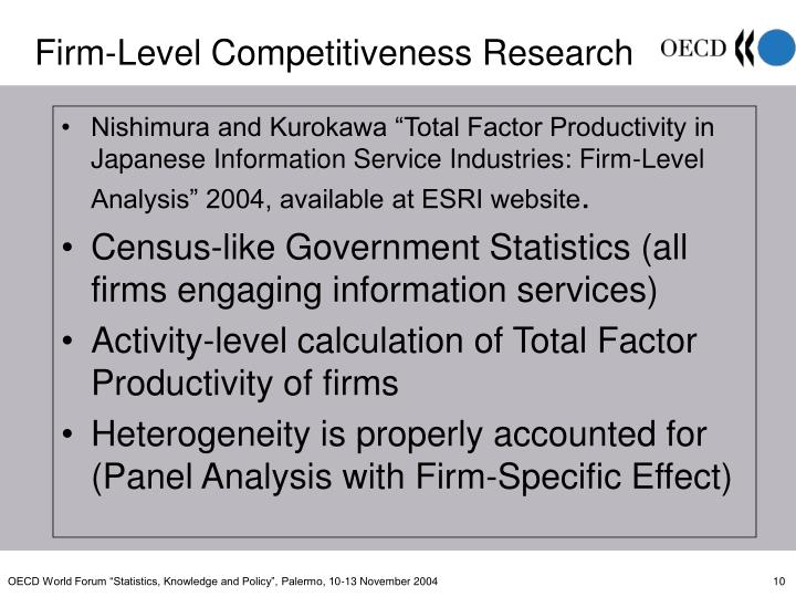 """Nishimura and Kurokawa """"Total Factor Productivity in Japanese Information Service Industries: Firm-Level Analysis"""" 2004, available at ESRI website"""