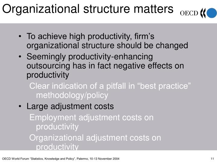 To achieve high productivity, firm's organizational structure should be changed