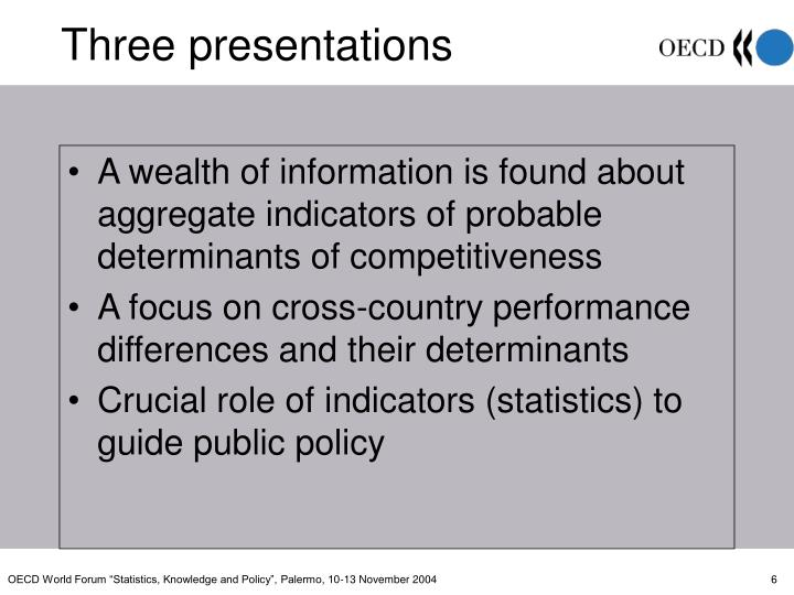 A wealth of information is found about aggregate indicators of probable determinants of competitiveness