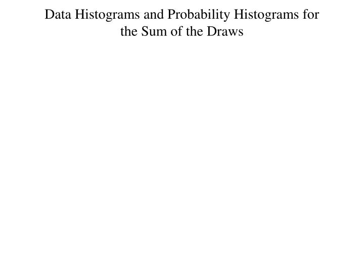 Data Histograms and Probability Histograms for