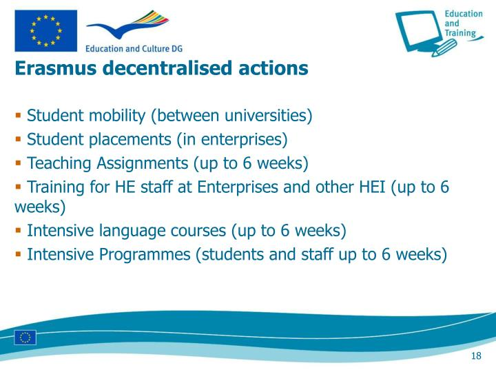 Erasmus decentralised actions