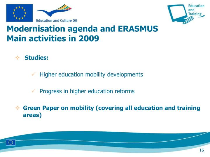 Modernisation agenda and ERASMUS