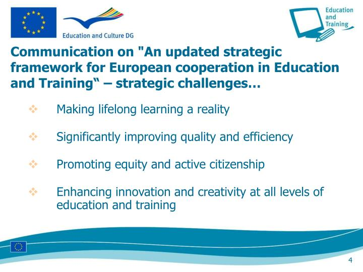 """Communication on """"An updated strategic framework for European cooperation in Education and Training"""" – strategic challenges…"""