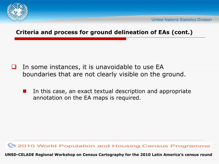 Criteria and process for ground delineation of EAs (cont.)