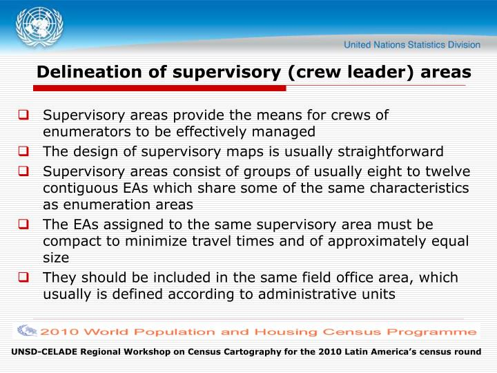 Delineation of supervisory (crew leader) areas