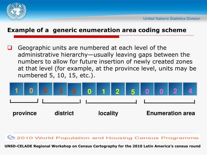 Example of a  generic enumeration area coding scheme