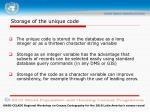 storage of the unique code