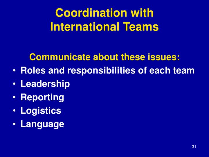 Coordination with