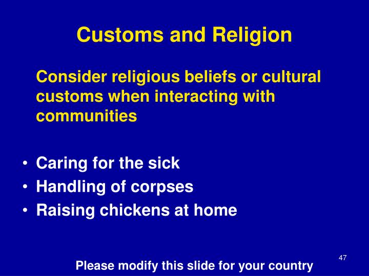 Customs and Religion