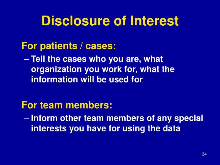 Disclosure of Interest