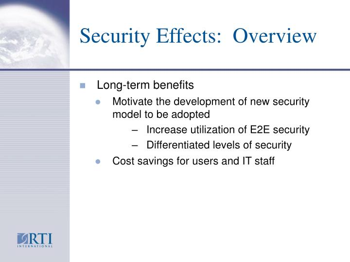 Security Effects:  Overview