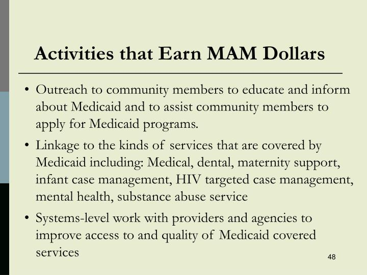 Activities that Earn MAM Dollars