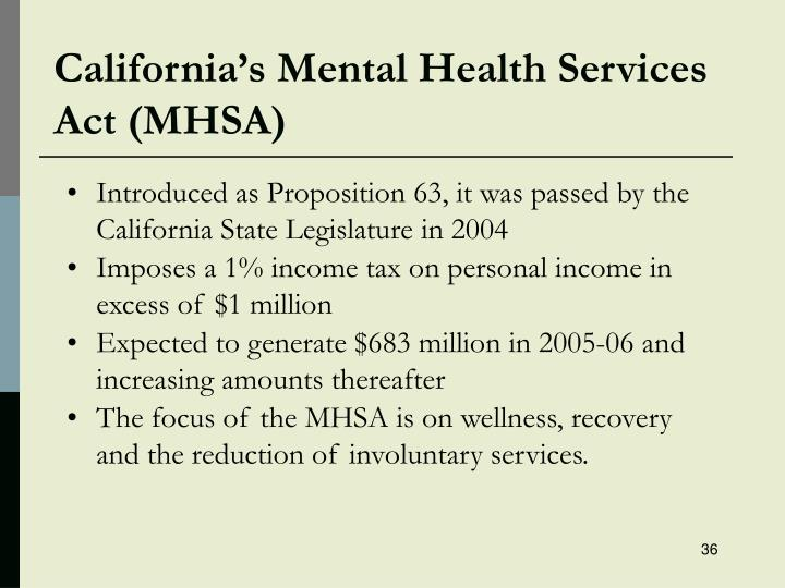 California's Mental Health Services Act (MHSA)