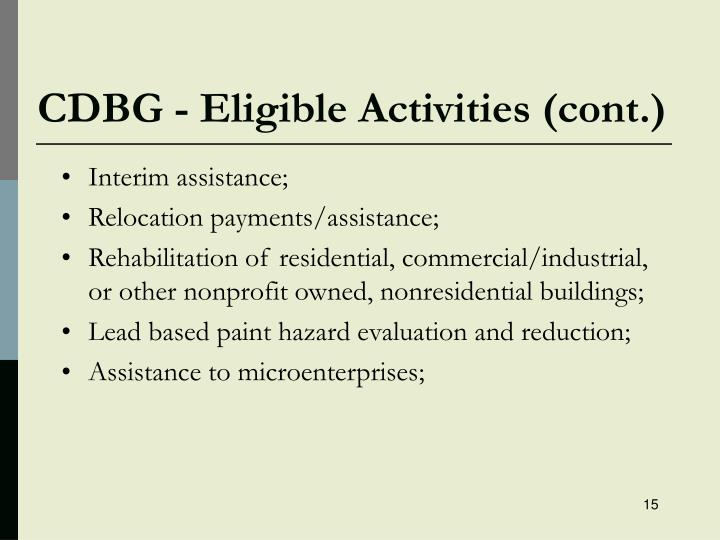 CDBG - Eligible Activities (cont.)