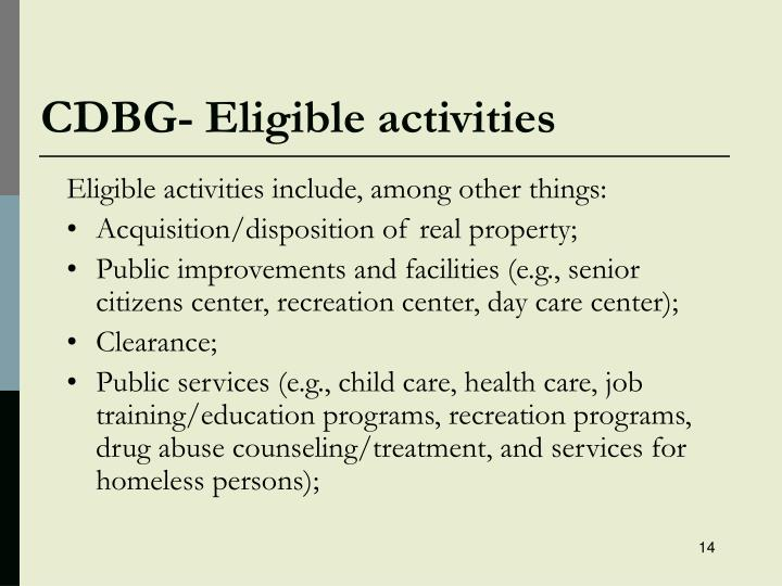 CDBG- Eligible activities