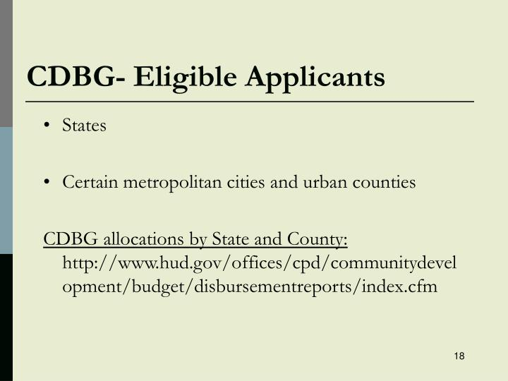 CDBG- Eligible Applicants