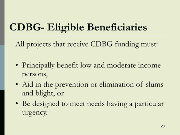 CDBG- Eligible Beneficiaries