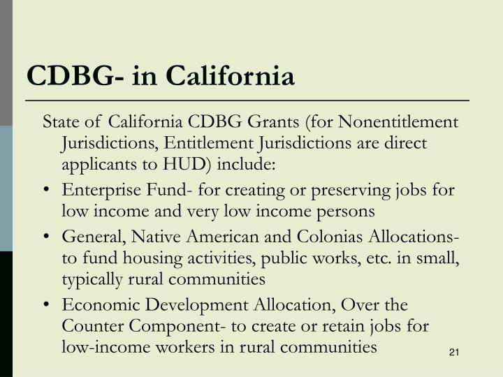 CDBG- in California