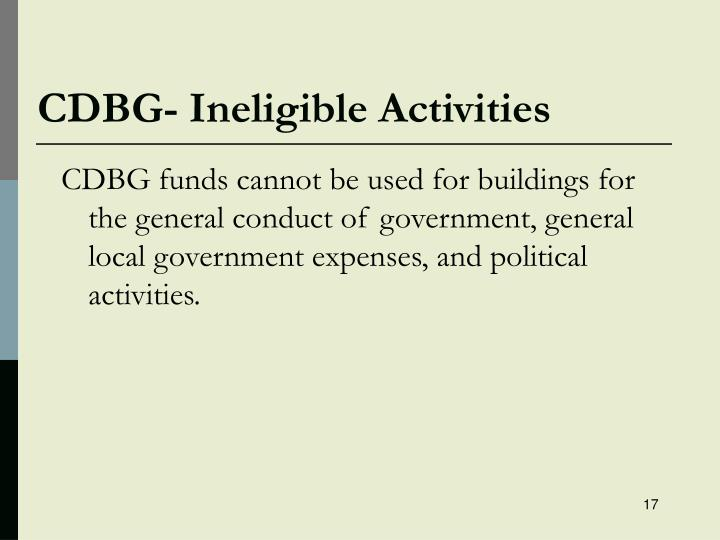 CDBG- Ineligible Activities