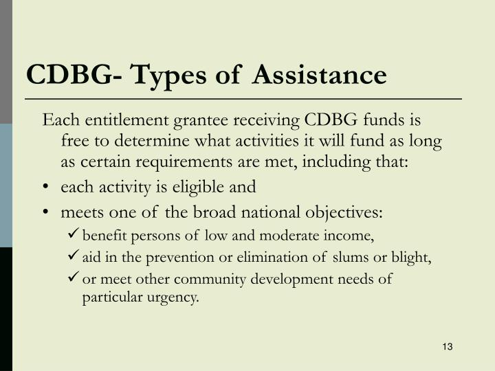 CDBG- Types of Assistance