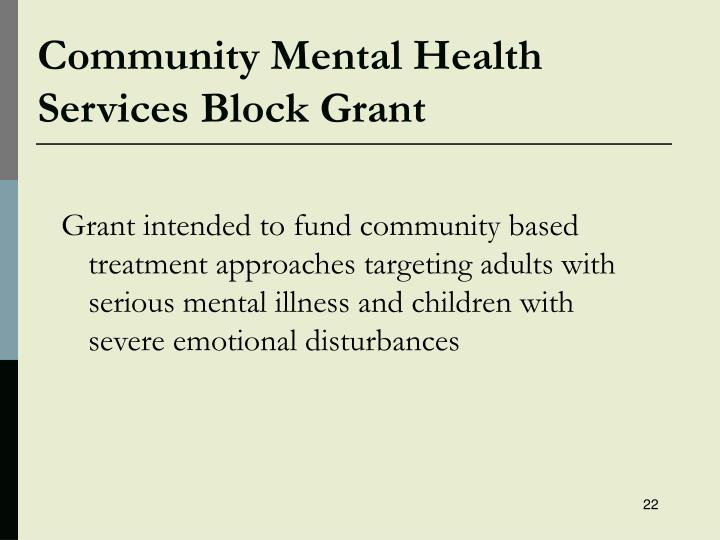 Community Mental Health Services Block Grant