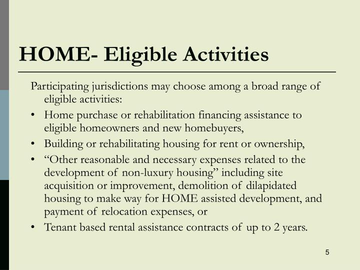 HOME- Eligible Activities