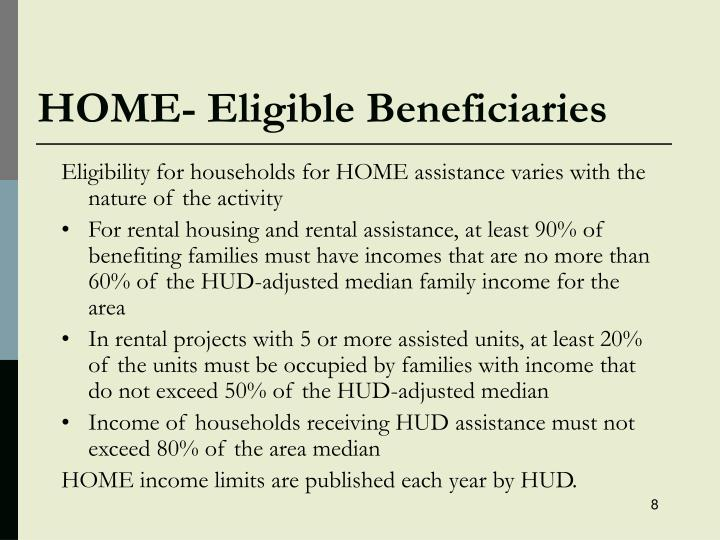 HOME- Eligible Beneficiaries