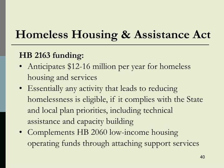 Homeless Housing & Assistance Act
