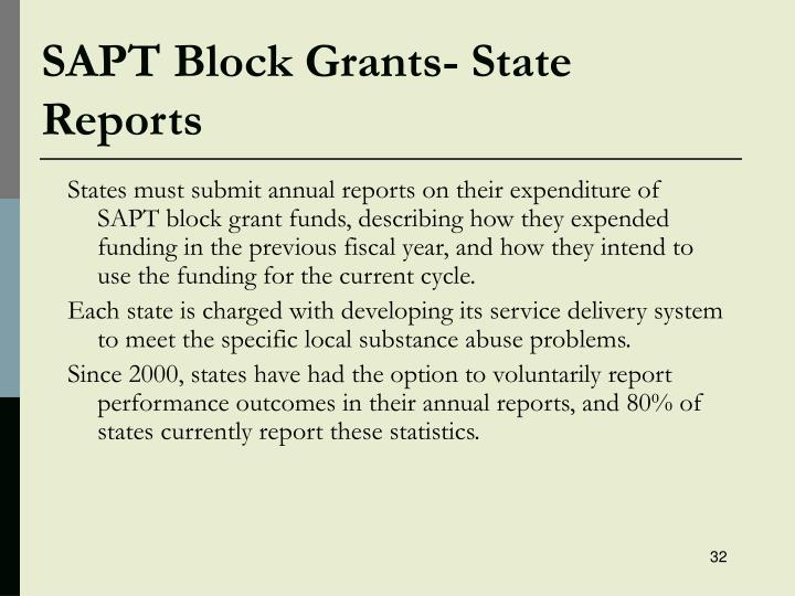SAPT Block Grants- State Reports